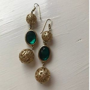 Vintage Emerald Gold Long Ball Dangly Earrings 20s